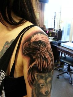 Ribs *eagle with cross necklace in its mouth and blue eyes