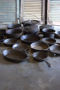 Antique cast iron cookware. Nice collection. My favorite to cook with.
