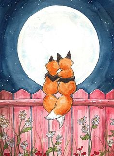 Fox Print - A couple of fox sweethearts cuddle under the moon. --By Georgia Dunn