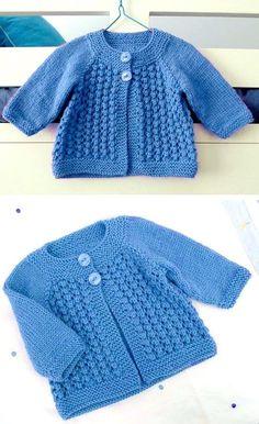Free Baby Sweater Knitting Patterns, Knitted Baby Cardigan, Knit Baby Sweaters, Baby Pullover, Free Knitting, Cherub, Projects, Sewing, Knit Jacket