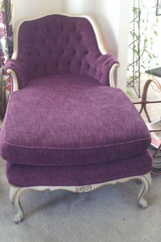 Old reupholstered chaise lounge