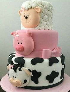 Baby Shower Cake this multi tiered cake is so cute and perfect for so many occasions, it has a co… Crazy Cakes, Cow Cakes, Cupcake Cakes, Pink Cakes, Farm Cake, Animal Cakes, Farm Animal Cupcakes, Novelty Cakes, Pretty Cakes