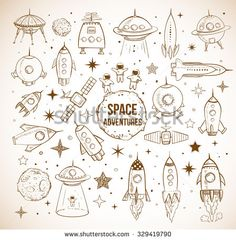 Collection of sketchy space objects on vintage background. Space ships, rockets, space shuttle, planets, flying saucers, astronauts etc. - stock vector