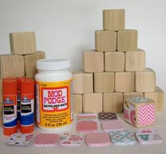 Love this idea for a baby shower - have each guest make a block and sign it. DIY Wood Baby Blocks // Baby Girl // Baby Shower Craft // Family Craft // Childrens Blocks // Natural Wood #Scrapbook| http://scrapbook.hana.lemoncoin.org