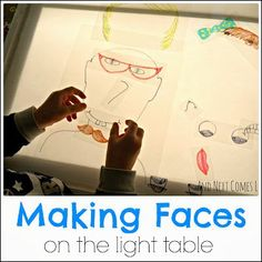 Making Faces on the Light Table - Projector - Ideas of Projector - Making funny faces on the light table from And Next Comes L