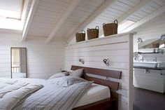 master bedroom we want in attic, small bedroom addition. Trying to find ideas interally for our new house Loft Room, Bedroom Loft, Home Bedroom, Bedroom Small, Dream Bedroom, Bed Room, Attic Spaces, Attic Rooms, Attic Playroom