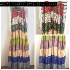⚡️️24 Hr Sale⚡️Multi Fabric 100% Silk Maxi Dress Sans Souci. Multi Fabric Maxi Dress. 100% silk. Marked size large. But fits like size M/L. This dress is BEAUTIFUL in person!!! Only worn twice. NOT from listed brand. Brand is Sans Souci. Free People Dresses Maxi