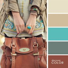 Mint blue and brown