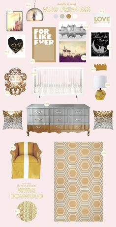 We love to look of mixed metals in this nursery that Joni Lay created! See the full post on Style Spotters: http://www.bhg.com/blogs/better-homes-and-gardens-style-blog/2012/12/20/new-years-nursery-mod-princess/?socsrc=bhgpin122012mixedmetalsnursery
