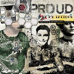 Dare #409  Credits: By Crafty Button Designs – Begin Again Elements and Darkest Before The Dawn Printable Pack; by Kaye Winiecki – Staxon Hexagon; by Quirky Heart – Build a Mess; by Erica Zane – Sew Black and White Hexagons; by Paula Kesselring – Beginning – Brushes; by Sissy Sparrows – Vintage Ink and Font – Tattoo Ink and ACID LABEL.
