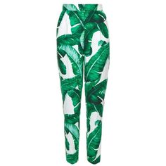 Dolce & Gabbana Banana leaf-print high-rise trousers ($1,395) ❤ liked on Polyvore featuring pants, green multi, floral pants, high rise pants, print pants, floral crop pants and green high waisted pants