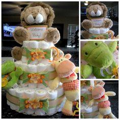 Diaper cake for baby shower. Diaper cake I made for a friend using high end plush toys; Davina (2012)