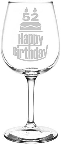 52nd | Three Tier Happy Birthday Cake Decoration Inspired - Laser Engraved Libbey All-Purpose Wine Glass.  Fast Free Shipping & 100% Satisfaction Guaranteed.  The Perfect Gift!