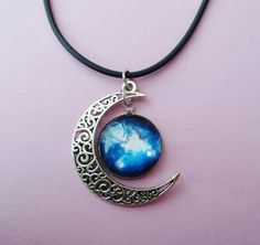 Galaxy moon choker by OfStarsAndWine on etsy  grunge, nu goth, pastel goth, alternative fashion