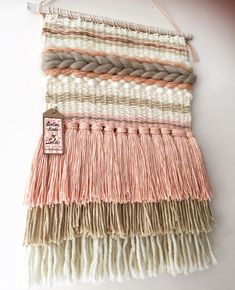 Excellent Cost-Free weaving techniques diy Tips Wool and cotton weaving in beige, white and pink. Ideal for a girls room. Custom made by Lola (foll Weaving Textiles, Weaving Art, Tapestry Weaving, Loom Weaving, Hand Weaving, Weaving Wall Hanging, Macrame Wall Hangings, Weaving Projects, Weaving Techniques