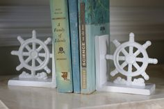 Set of Ships Wheel Cast Iron Bookends - Nautical Decor