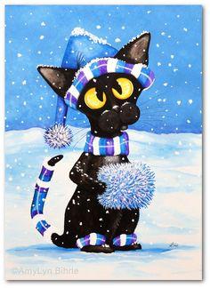 Black Cat Winter Snowflakes  Art Print by Bihrle by AmyLynBihrle