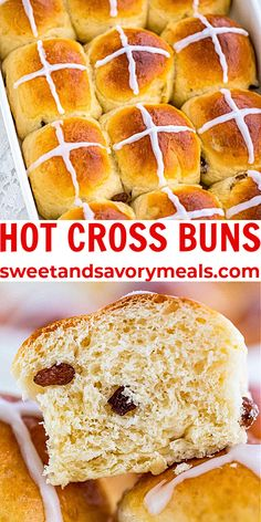Hot Cross Buns are slightly sweet, with raisins and spiced with cinnamon, and perfectly puffy. #hotcrossbuns #buns #Easter #holiday #sweetansavorymeals Spring Recipes, Easter Recipes, Holiday Recipes, Breakfast Recipes, Dessert Recipes, Easter Dishes, Summer Cakes, Hot Cross Buns, Easy Baking Recipes