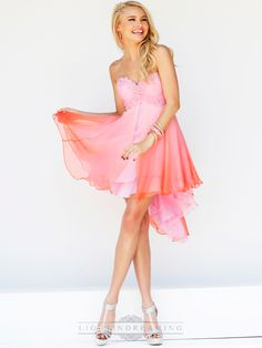 Short Strapless Sweetheart Embellished Bodice Ombre Prom Dresses
