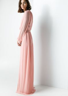 Vestido largo capa mango long pleated dress for wedding guest