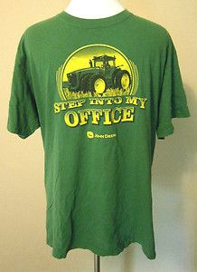 "Mens Sz L John Deere Tractors ""Step into my office"" T Shirt, Green/Yellow, Farm. $6.99"