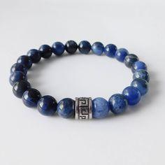 Mens bracelet - Sodalite bracelet - Sodalite beads - Beaded bracelet by LevenimOfficial on Etsy https://www.etsy.com/uk/listing/593920003/mens-bracelet-sodalite-bracelet-sodalite