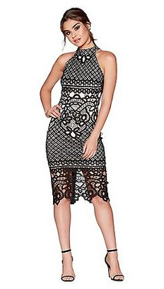 Quiz - Black and nude crochet high neck dress