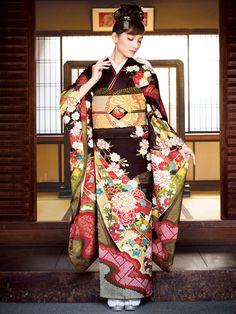 Furisode kimono/ 振袖・桶絞り・五彩熨斗草花文 - 2