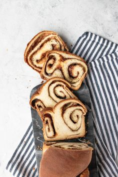 An incredibly tender, soft loaf swirled with sweetness and cinnamon, this Cinnamon Bread is the perfect holiday gift or Christmas morning treat. Bakery Recipes, Bread Recipes, Yummy Recipes, Bacon And Cheese Quiche, Cinnamon Swirl Bread, Cinnamon Rolls, Muffins, Yeast Bread, Instant Yeast