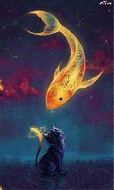 Art fantasy goldfish kitten Mobile Wallpaper - ID 13927 Art And Illustration, Vintage Illustrations, Fantasy Kunst, Fantasy Art, Anime Fantasy, Fantasy Paintings, Digital Paintings, Art Paintings, Inspiration Art