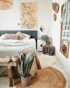natural jute round rug bedroom – A mix of mid-century modern, bohemian, and industrial interior style. Home and apartment decor, decoration ideas… – light Home And Deco, Home Decor Bedroom, Design Bedroom, Bedroom Inspo, Bedroom Bed, Nature Bedroom, Girls Bedroom, Bedroom Inspiration, Ikea Boho Bedroom