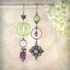 Sage Plum Romantic Green Purple Gemstone Earrings, Carved Jade Knot, Carved Amethyst Leaf, Peridot Amethyst Sterling Medallion, Vintage Upcycled Art Earrings by MiaMontgomery at Etsy