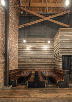 Abbot's Cellar Restaurant | Reclaimed wood and other exposed industrial materials interior