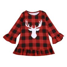NEW Christmas Kid Toddler Baby Girls Deer Dress Flare Long Sleeve Party Dress Outfit Clothes Casual Red Black Plaid Dresses Party Dress Outfits, Plaid Outfits, Casual Dress Outfits, Plaid Dress, Girl Outfits, Casual Clothes, Winter Clothes, Winter Outfits, Girls Holiday Dresses