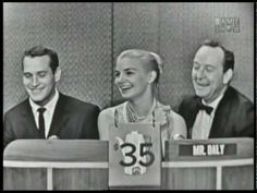 """Every once in a while, the Mystery Guest segment on """"What's My Line?"""" would go domestic. So, here's a nice husband and wife couple on the game show, trying to win a few bucks to pay for the groceries. Paul Newman and Joanne Woodward. What's My Line, Line Tv, Blondie And Dagwood, Paul Newman Joanne Woodward, Line Video, Harold Lloyd, Line Game, Abbott And Costello, Laurel And Hardy"""