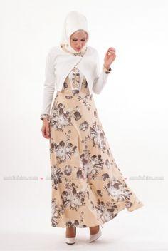 Butik Neşe - Çiçekli Hardal Elbise Takım - 2240-04