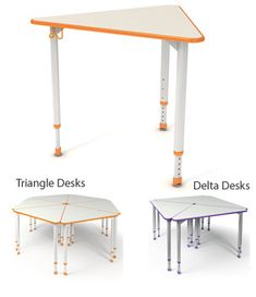 Paragon's A & D Triangle Collaborative Desks feature flattened oval adjustable legs using patent-pending plastic-molded bezel sleeve that contains 8 contact points to securely set the leg at your desired height. These desks are stylish, durable and designed for the 21st century classroom.