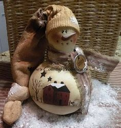 MOM!!- I love this *hint hint* snowman painted gourd