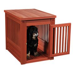 Go green in style with one of these eco-friendly Habitat'N Crate wood dog crates by New Age Pet. Available on its own or as part of the New Age Pet InnPlace Collection, which includes the Habitat'N Crate, the Buddie Bunk Bed and Elevated feeding dish. Dog Crate Table, Wood Dog Crate, Puppy Crate, Decorative Dog Crates, Luxury Dog House, Wood Plastic, Luxury Dog Kennels, Airline Pet Carrier, Indoor Pets