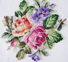 Vint AUSTRIAN PETITPOINT, Needlepoint,  Roses, Violets, Unused, Stitching, Needlework, by AlpineCountryLooks on Etsy