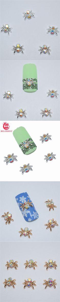 Beleshiny 10psc New  Color spider 3D Nail Art Decorations,Alloy Nail Charms,Nails Rhinestones  Nail Supplies #040