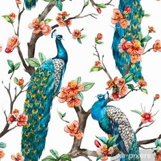 watercolor seamless pattern with peacock on a tree cherry, flowering trees, tree with flowers, yellow background - stock photo Peacock Wallpaper, Peel Off Wallpaper, Wall Wallpaper, Peacock Painting, Peacock Art, Peacock Feathers, Classic Wallpaper, Peacock Pattern, Paintings