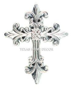 Pewter Fleur De Lis Decorative Wall Cross Metal Silver Color 8.5x 6.5 inches