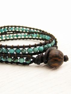 Natural Turquoise Leather Wrap Bracelet w/ Coconut Wood