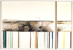 Jason Middlebrook, Double Negative 1969-1970, 2003, watercolor, graphite, and acrylic on paper (in 2 parts) , 80 x 111 in. overall. Image courtesy of artist and moniquemeloche.
