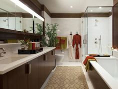 Note the little shelf above the counter - could use that - 99 Stylish Bathroom Design Ideas You'll Love on HGTV