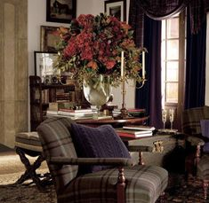 Plaid Chair, English Country Decor, Interior Decorating, Interior Design, Home Furnishings, Outdoor Furniture Sets, Family Room, Living Spaces, Sweet Home