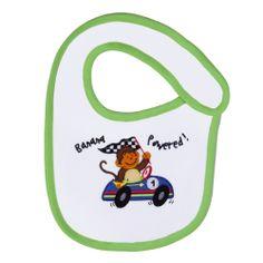Funkoos Race Car Monkey Organic Cotton Bib for Newborn Baby Infant Boy Get Baby, Organic Baby Clothes, Baby Pants, Baby Outfits Newborn, Long Sleeve Bodysuit, Baby Bibs, Burp Cloths, Race Cars, Organic Cotton