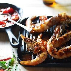 Grilled Shrimp with Sweet Chile Sauce - Chile-spiced shrimp cooks on a grill or in a grill pan in just 30 minutes. http://www.foodandwine.com/recipes/grilled-shrimp-with-sweet-chile-sauce