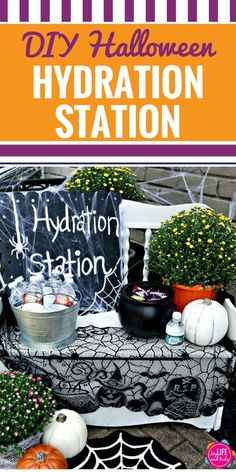 Planning a Halloween party or just want to add something fun to your night of trick or treating? Learn how to create a Hydration Station to help your little ghosts and goblins stay hydrated on Halloween Night! Frozen Halloween Costumes, Halloween Games, Halloween Activities, Diy Halloween Decorations, Fall Decorations, Halloween Trick Or Treat, Halloween Night, Holidays Halloween, Halloween Diy